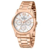 Relógio Feminino Multifunção Champion, Pulseira De Aço Rose,