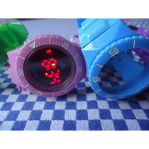 Kit - Relógio Troca Pulseiras 5 Cores Champion Led