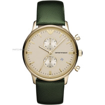 Relógio Emporio Armani Ar1722 Dourado E Verde Caixa E Manual