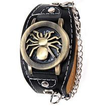 Relógio Bracelete De Couro Spider Rock. Frete Grátis.