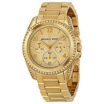 Relógio Michael Kors Mk5166 Dourado Midsize Caixa E Manual.