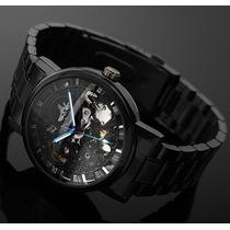 Relógio Masculino Black Automático Winner Vencedor Steampunk