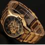 Relógio Masculino Automático Skeleton Dois Modelos Dourado
