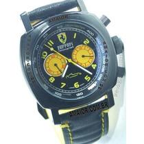 Relógio Ferrari Preto Amarelo Cx Preta Pulseira Couro 45mm