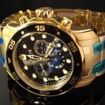 Relogio Invicta Scuba Diver 0072 Banhadoa Ouro 18k Dourado