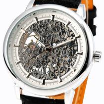Relógio Winner Esqueleto Movimento Mecânico Inox Em Couro