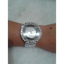 Relógio De Pulso Fem Libra Quartz Bracelete Cromado Strass