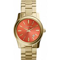 Relógio Michael Kors Mk5915 Dourado E Laranja Caixa E Manual