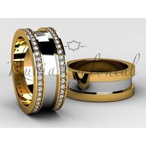 Aliança De Luxo - Ouro 18k. - Diamantes. Casamento Noiva