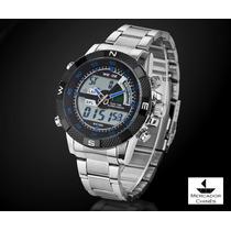 Relógio Sport Weide Azul Digital/analógico Com Pulseira Aço
