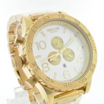 Relógio Nixon Dourado Branco Men´s 51-30/ 1 Ano Garantia