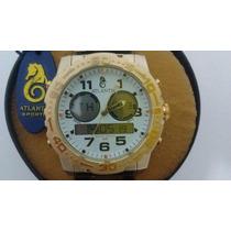 Relógio Original Atlantis Ana Digi A3228 Aço Dourado Branco