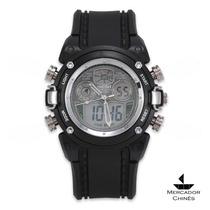 Relógio Sport Ohsen Militar Dual Time Alarme E Cronômetro