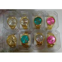 Kit C/10 Relogios Feminino Dourado+caixas Atacado Revenda