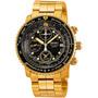 Relógio Seiko Flight Sna414 Alarme Cronografo Dourado