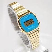 Relógio Feminino Casio La670 Azul 100% Original Modelo Mini