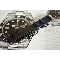 Pulseira R Foz - Nato Preta/azul 20mm - Feito A Mão - Linda