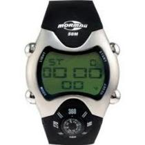 Relógio Mormaii Resistente Água C/ Bússola Pulseira Borracha