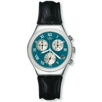 Relógio De Luxo Swatch Swiss Lindo Fundo Azul Mod. Ycs464