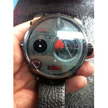 Relógio Diesiil 4 Times Radar Preto Pulseira De Couro