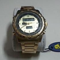 Relógio Masculino Dourado Atlantis Sport Analógico E Digital