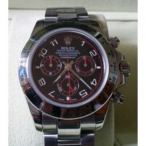 Relógio Eta Valjoux Modelo Daytona Dial Preto E Vermelho