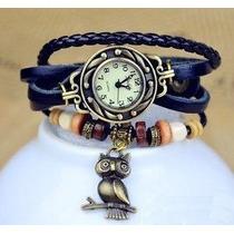 Relógio Feminino Bracelete Couro - Pingente Coruja - Vintage