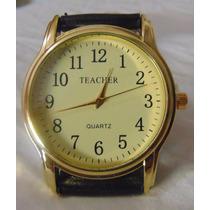 Relógio Social Boss Teacher Mostrador Amarelo Pulseira Couro