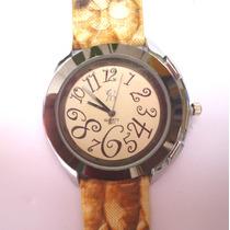 Relógio Analógico Feminino Pulseira Couro Listrada