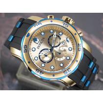 Relógio Original Invicta Pro Diver Plaque Ouro Cronografo