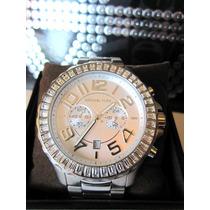 Relógio Luxo Michael Kors Mk5590 Orig Chron Anal Silver!!!
