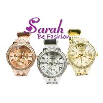 Relógio Feminino De Pulso Geneva Com Strass Luxury