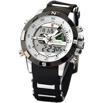 Relógio Duplo Display Analóg. E Digit. Led Shark Watch Sh041