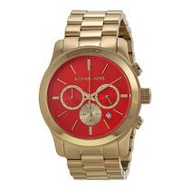 Relógio Michael Kors Mk5930 Dourado E Laranja Caixa E Manual