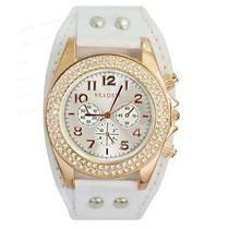 Relógio Bracelete De Couro Estiloso E Resistente 3 Cores