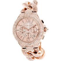 Relógio De Luxo Mk3196 Chron Analóg Swarovski & Ouro Rosé