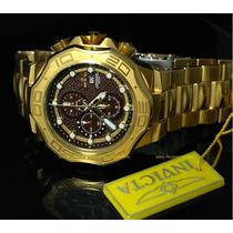 Relógio Invicta Texturizado Banhado A Ouro 18kl