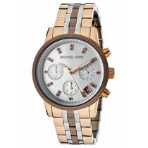 Relógio De Luxo Michael Kors Mk5642 Rosê,choco E Prata,