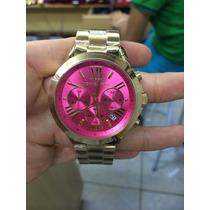 Relógio Michael Kors Mk5924 Dourado E Pink Frete Grátis.