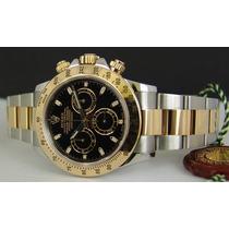 Relógio Misto Prata Dourado Fundo Preto Daytona Sedex Grátis