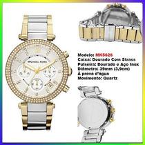 Relógio Michael Kors Mk5626 Gold Strass 39mm Midsized Novo !