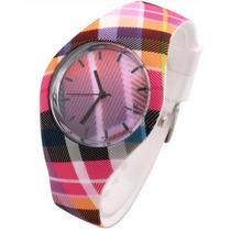 Relógio Feminino Meninas Xadrez Colorido Casual V6 Moda