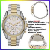 Relógio Michael Kors Mk5627 Gold Misto 43mm Oversized Novo !