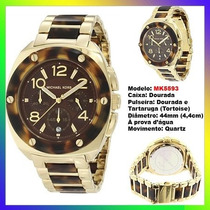 Relógio Michael Kors Mk5593 Gold Tartaruga 44mm Oversized !