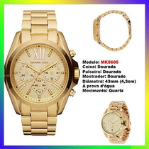 Relógio Michael Kors Mk5605 Gold 43mm Oversized Original !