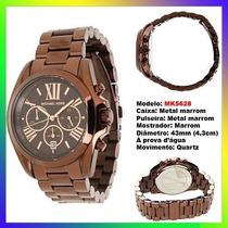 Relógio Michael Kors Mk5628 Marrom Aço 43mm Oversized Novo !