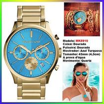 Relógio Michael Kors Mk5910 Gold Blue 43mm Oversized Novo !