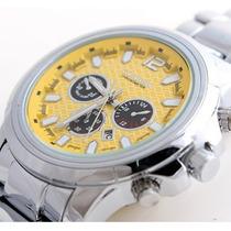Relógio Curren Esportivo Amarelo Importado Calendário Dia