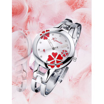 Relógio Bracelete Ajustável Com Cristal E Flor No Mostrador