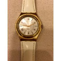 Relógio Swatch Original Dourado E Branco